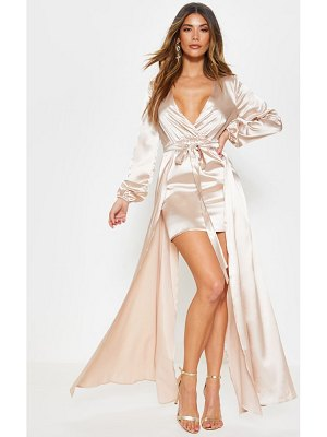 PrettyLittleThing satin plunge 2 in 1 maxi dress