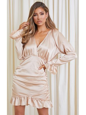 PrettyLittleThing satin plunge frill hem ruched bodycon dress
