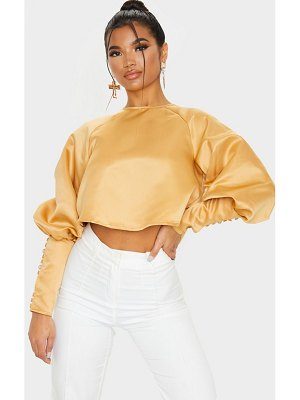 PrettyLittleThing satin puff button detail long sleeve blouse
