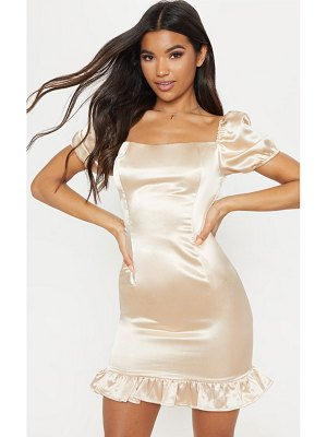 PrettyLittleThing satin puff sleeve frill hem bodycon dress