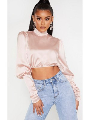 PrettyLittleThing satin ruched cuff cropped blouse