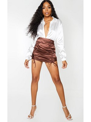 PrettyLittleThing satin ruched front mini skirt