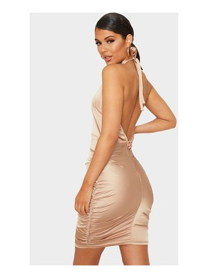 PrettyLittleThing satin ruched halterneck bodycon dress