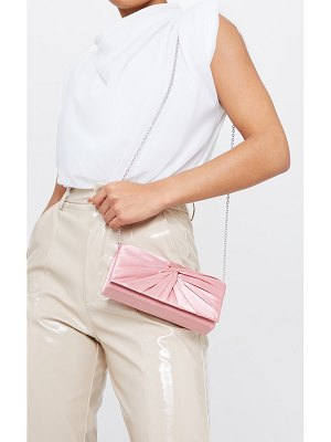 PrettyLittleThing satin ruched knot clutch