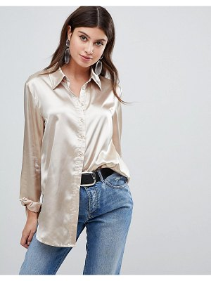 PrettyLittleThing satin shirt in champagne