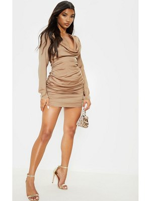 PrettyLittleThing satin shoulder pad cowl neck ruched bodycon dress