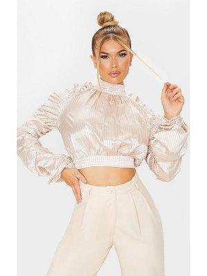 PrettyLittleThing satin striped ruched sleeve crop top
