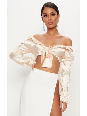 PrettyLittleThing satin tie front crop blouse