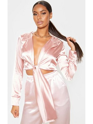 PrettyLittleThing satin tie front cropped blouse
