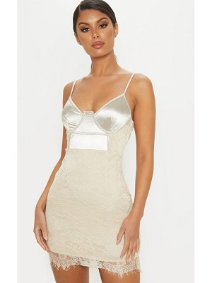 PrettyLittleThing satin top bustier lace bodycon dress