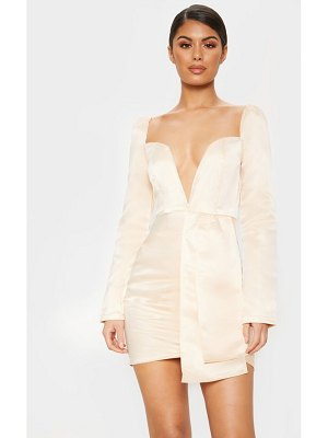 PrettyLittleThing satin v bar drape bodycon dress