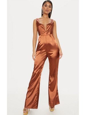 PrettyLittleThing satin v bar wide leg jumpsuit