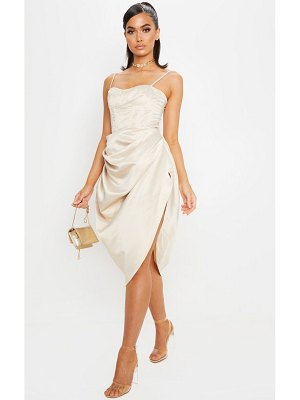 PrettyLittleThing satin woven ruched side midi skirt