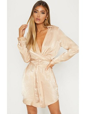 PrettyLittleThing satin wrap shift dress