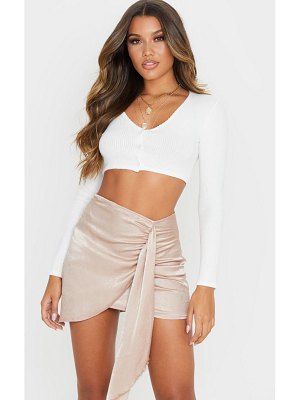 PrettyLittleThing satin wrap tie detail mini skirt