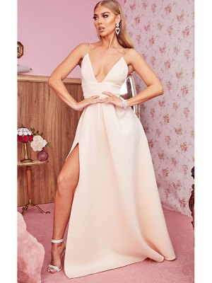 PrettyLittleThing scuba strappy plunge maxi dress