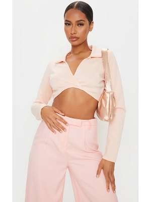 PrettyLittleThing scuba twist front cropped shirt