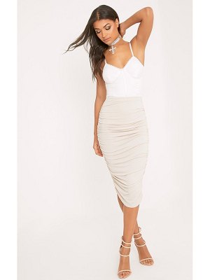 PrettyLittleThing second skin ruched side midi skirt