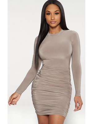 PrettyLittleThing second skin slinky long sleeve ruched bodycon dress