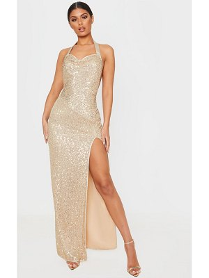 PrettyLittleThing sequin back detail maxi dress