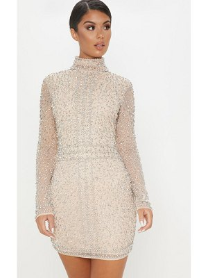 PrettyLittleThing sequin embellished high neck bodycon dress