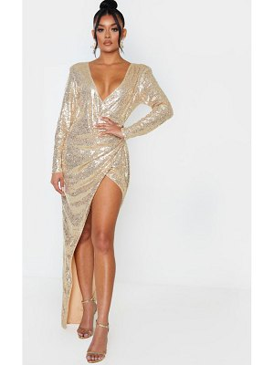PrettyLittleThing sequin long sleeve plunge wrap detail maxi dress