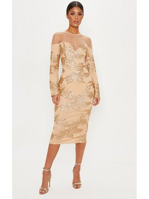 PrettyLittleThing sequin mesh insert midi dress