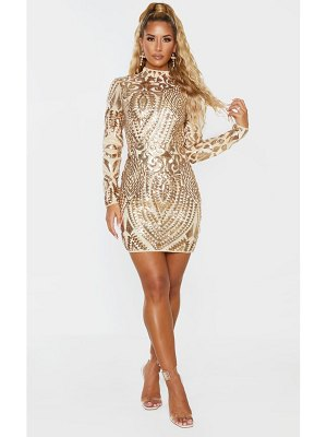 PrettyLittleThing sequin patterned open back bodycon dress