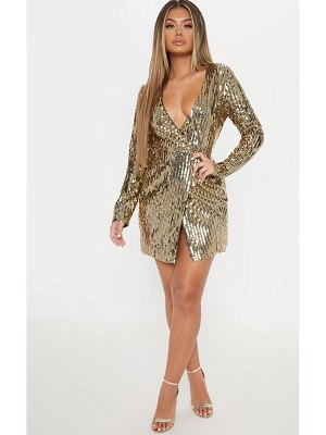 PrettyLittleThing sequin plunge wrap bodycon dress
