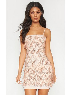 PrettyLittleThing sequin strappy square neck bodycon dress