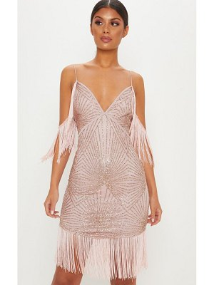 PrettyLittleThing sequin tassel cold shoulder detail midi dress