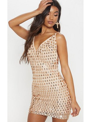 PrettyLittleThing sequin tassel plunge bodycon dress