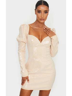 PrettyLittleThing sequin v bar puff sleeve bodycon dress