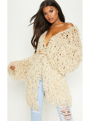 PrettyLittleThing shaggy knit long line cardigan