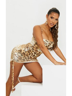 PrettyLittleThing shape animal print slinky ruched side bodycon dress