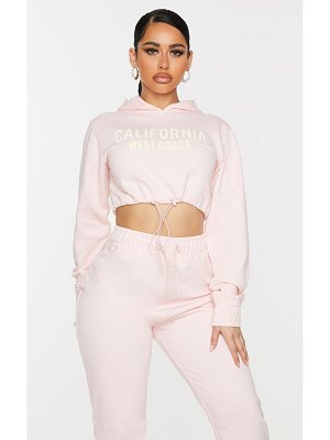 PrettyLittleThing shape baby pink california slogan toggle cropped sweater