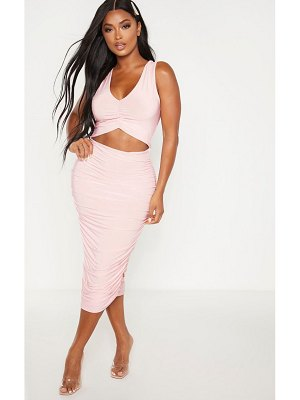PrettyLittleThing shape blush ruched detail cut out midi dress