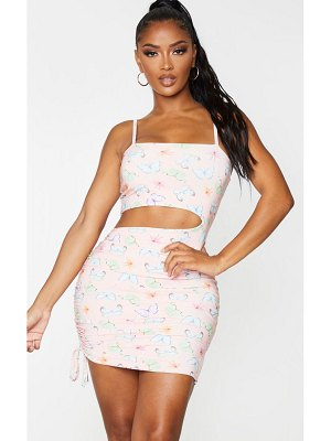 PrettyLittleThing shape butterfly print slinky cut out ruched side bodycon dress