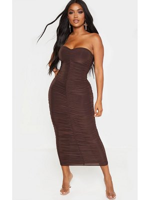 PrettyLittleThing shape chocolate brown bandeau ruched midaxi dress