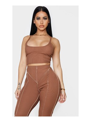 PrettyLittleThing shape chocolate brown rib detail crop top