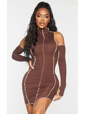 PrettyLittleThing shape chocolate brown rib overlock seam thumb hole bodycon dress