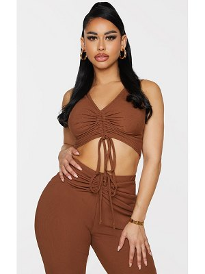 PrettyLittleThing shape chocolate brown rib ruched front sleeveless crop top
