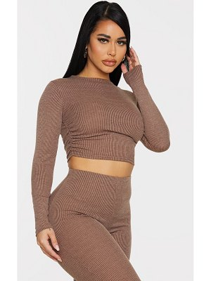 PrettyLittleThing shape chocolate brown rib ruched side long sleeve crop top
