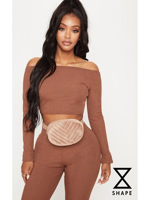 PrettyLittleThing shape chocolate brown ribbed bardot long sleeve crop top
