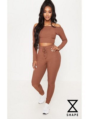 PrettyLittleThing shape chocolate brown ribbed high waist leggings