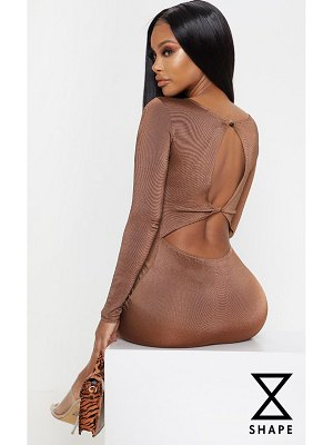 PrettyLittleThing shape chocolate brown slinky cut out back bodycon dress