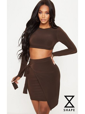 PrettyLittleThing shape chocolate brown slinky tie back long sleeve crop top