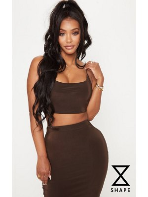 PrettyLittleThing shape chocolate slinky strappy tie back crop top