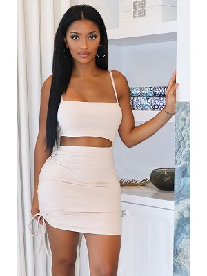 PrettyLittleThing shape cotton strappy ruched side bodycon dress