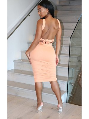 PrettyLittleThing shape cotton tie back ruched bodycon dress